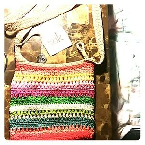 The Sak Rainbow Crochet Pouch Shoulder bag